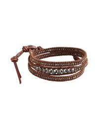 Chan Luu | Brown Sienna Leather and Gunmetal Stone Wrap Bracelet for Men | Lyst