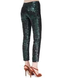 N°21 | Green Sequined Straight-leg Cropped Pants | Lyst