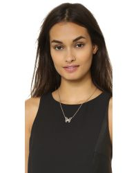 kate spade new york - Metallic All A Flutter Mini Pendant Necklace  - Lyst