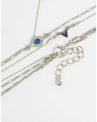 ASOS | Metallic Fine Eye Rosary Choker Necklace | Lyst