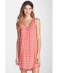 Midnight By Carole Hochman - Pink 'annette' Sheer Inset Jersey Chemise - Lyst
