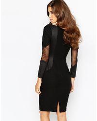 Vesper - Black Mesh Panel Bodycon Dress - Lyst