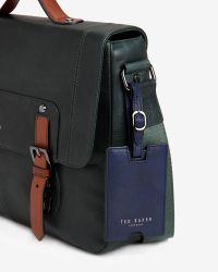 Ted Baker | Green Color Block Leather Messenger Bag for Men | Lyst