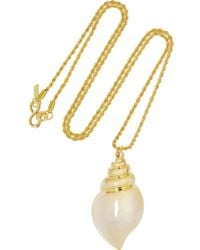 Kenneth Jay Lane | Metallic Gold Plated Seashell Necklace | Lyst