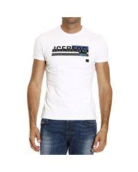 Iceberg - White T-shirt Short Sleeve Crewneck Logo for Men - Lyst