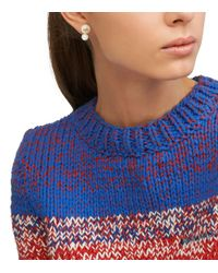 Tory Burch - White Evie Double-stud Earring - Lyst