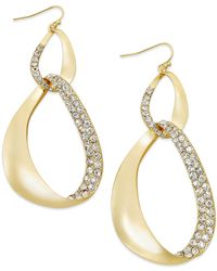INC International Concepts - Metallic Gold-tone Pavé Link Drop Earrings - Lyst