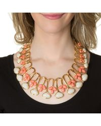 Lele Sadoughi | Metallic Coral Feathered Fan Necklace | Lyst