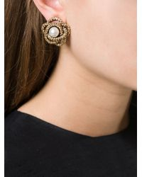 Oscar de la Renta | Metallic Pearl Button Clip Earrings | Lyst