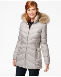 INC International Concepts | Gray Faux-fur-hood Quilted Down Coat | Lyst