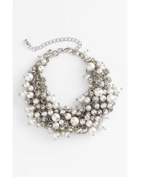 Nina - White 'peony' Glass Pearl & Crystal Cluster Bracelet - Lyst