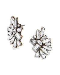 BaubleBar | Metallic 'crystal Dolores' Statement Stud Earrings - Antique Gold/ Clear | Lyst