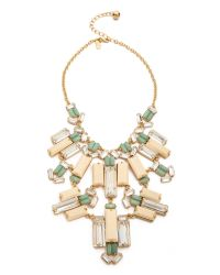 kate spade new york | Metallic Centro Tiles Statement Necklace Light Wood Multi | Lyst