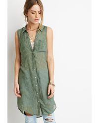 Forever 21 | Green Check-textured Shirt Dress | Lyst