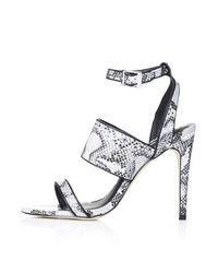 TOPSHOP - Gray Rita Croc Effect Sandals - Lyst