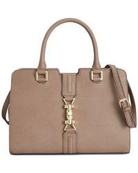 Calvin Klein | Brown Saffiano Leather Satchel | Lyst