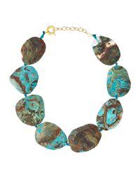 Panacea - Brown Blue Jasper Collar Necklace - Lyst