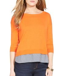 Ralph Lauren - Orange Lauren Layered Shirttail Sweater - Lyst