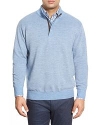 Peter Millar | Blue Quarter Zip Merino Wool Sweater for Men | Lyst