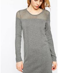Vila - Gray Long Sleeve Jumper Dress With Open Knit Neckline - Lyst