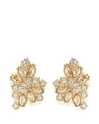 St. John | Metallic 'night Bloom' Crystal Laurel Earrings | Lyst