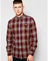 Stussy - Brown Shirt In Slim Fit Check Mahogany for Men - Lyst