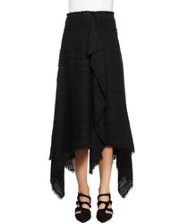 Proenza Schouler - Black Asymmetric-hem Tweed Skirt - Lyst