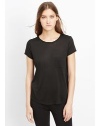 VINCE | Black Shirttail Short Sleeve Pocket Tee | Lyst