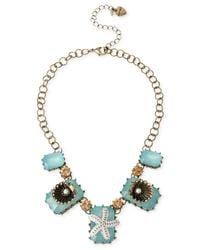 Betsey Johnson | Metallic Brass-Tone Starfish & Shell Frontal Necklace | Lyst