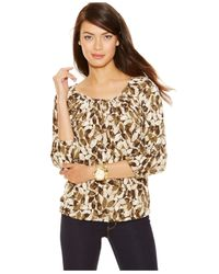 Michael Kors | Natural Michael Petite Printed Peasant Top | Lyst