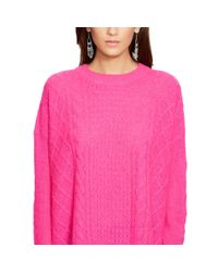 Polo Ralph Lauren - Pink Cabled Wool-blend Sweater - Lyst