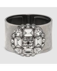 Gucci - Metallic Cuff With Swarovski Crystals - Lyst