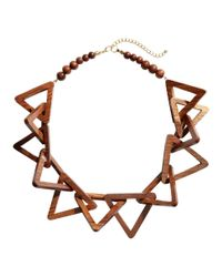 H&M - Brown Wooden Necklace - Lyst