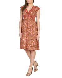 Izabel London | Red Ditsy Floral Print Dress | Lyst