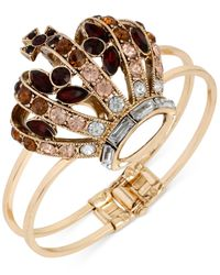 Betsey Johnson - Red Gold-Tone Crystal Crown Hinged Bangle Bracelet - Lyst