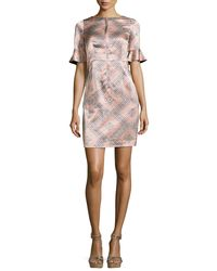 Nanette Lepore | Natural Marseille Flutter-Sleeve Silk Sheath Dress | Lyst