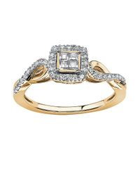 Palmbeach Jewelry - White 1/4 Tcw Princess-cut Diamond Twisting Shank Ring In 10k Gold - Lyst