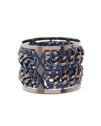 Pluma | Gunmetal Brass And Navy Blue Leather Large Bangle In Fumoso | Lyst