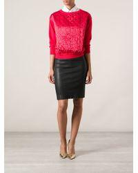 Moschino - Red Quilted Sweater - Lyst