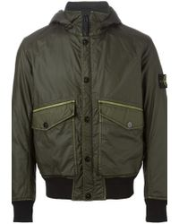 Stone Island   Green Hooded Padded Jacket for Men   Lyst
