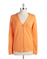 Calvin Klein | Orange Zip-Front Cardigan | Lyst
