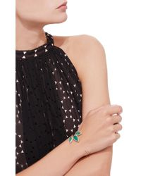 Jacquie Aiche - Green Pave 3 Teardrop Emerald Pave Hammered Flat Tip Cuff - Lyst