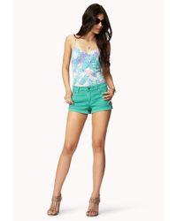 Forever 21 - Green Studded Denim Shorts - Lyst