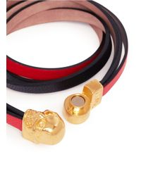 Alexander McQueen - Red Triple Strap Skull Leather Bracelet - Lyst