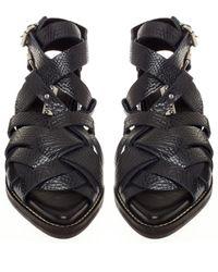 Acne Studios - Black Grained Leather Lenna Sandals - Lyst