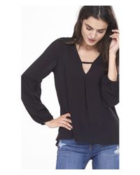 Express | Black Cutout V-neck Bubble Sleeve Blouse | Lyst