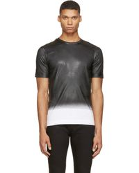 Diesel Black Gold - Black And White Ombr Coated T_shirt for Men - Lyst