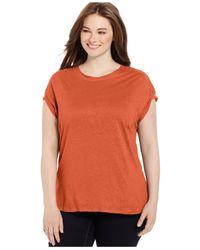 Calvin Klein | Orange Plus Size Eyelet Tee | Lyst