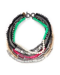 Venna | Multicolor Crystal Spikes Chain Necklace | Lyst