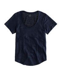 J.Crew - Blue Metallic Linen Scoopneck T-shirt - Lyst